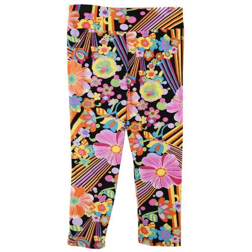 Moda mujer dama recortada pantalones Vintage cintura elástico impresión gimnasio desgaste Yoga pantalones Capri