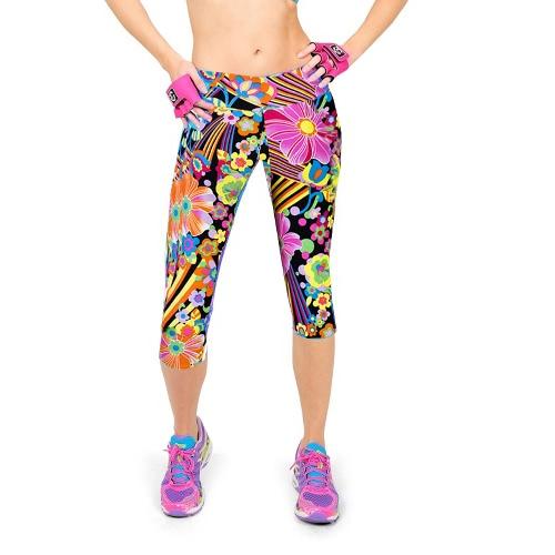 Fashion Women Lady Cropped Trousers Vintage Print Elastic Waist Gym Wear Yoga Capri Pants