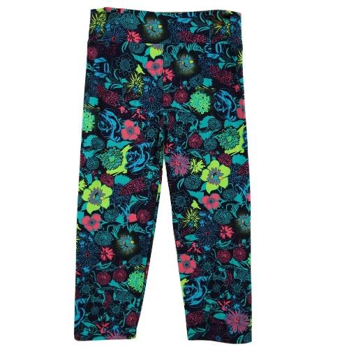 Moda mujer dama recortada pantalones Vintage impresión elástico cintura gimnasio desgaste Yoga pantalones Capri