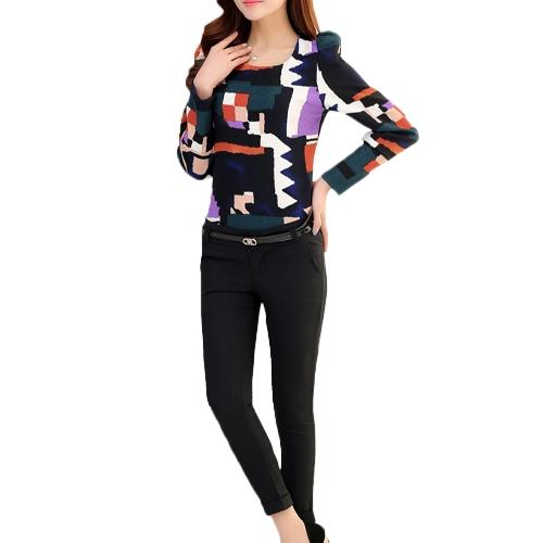 Nowe kobiety mody Top Vintage Print Puff Long Sleeve Crew Neck Cienka Elegancka Bluzka Lady