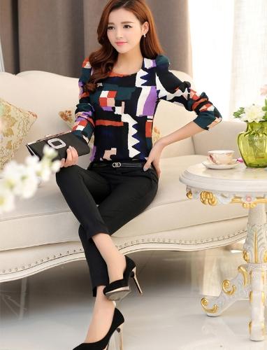 TOMTOP / Nova moda mulheres Top Vintage impressão Puff manga longa gola magro elegante blusa da senhora