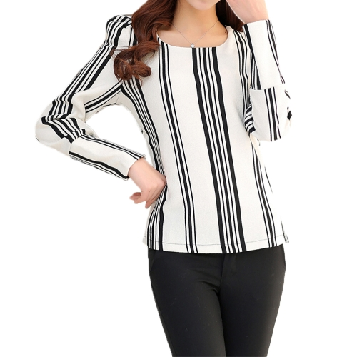 New Fashion Women Top Vintage Print Puff Long Sleeve Crew Neck Slim Elegant Lady Blouse