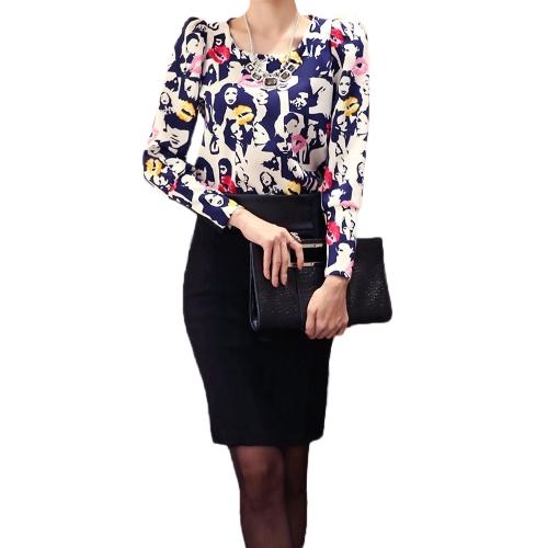 Nueva moda mujer Top labios Vintage Puff impresos manga larga ronda cuello delgado elegante blusa de señora