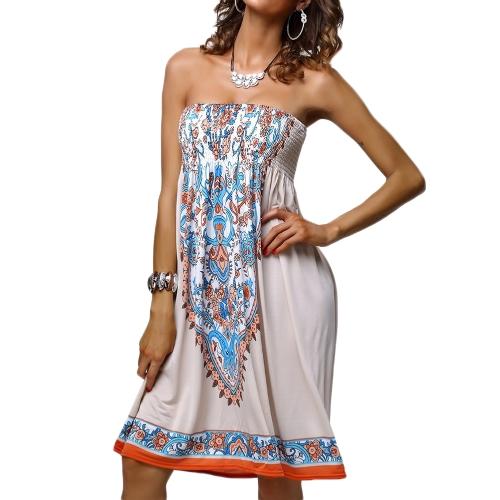 Nuevo Retro mujeres Mini vestido Print vestido Bustier playa vestido falda Swing