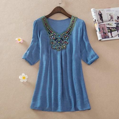 Böhmische Frauen Bluse Stickerei Bördeln halbe Ärmel lässig lockeren Tops Long Shirt Mini Kleid