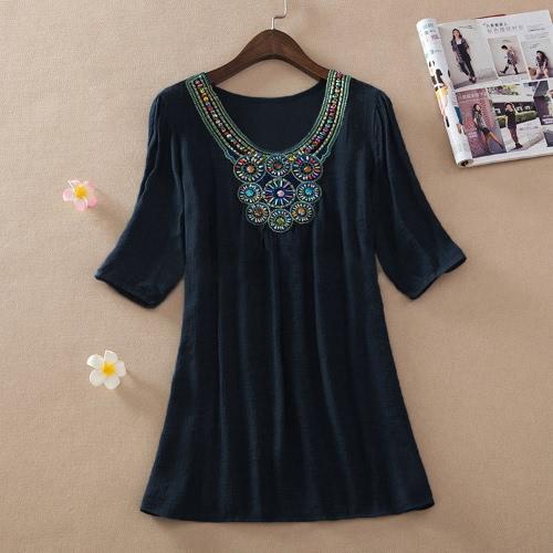 Чешские женщины кофточка вышивка бисером Половина рукав случайные свободные топы длинная рубашка мини-платье