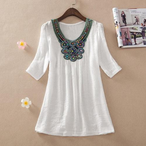 Bohemias mujeres blusa de media manga Casual Tops sueltos camisa larga Mini vestido bordado