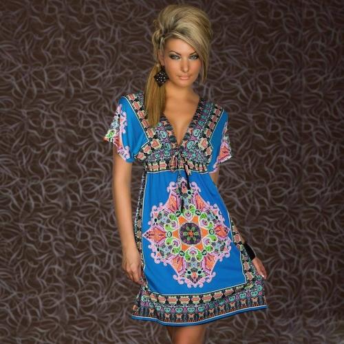 Retro mujeres bohemio vestido Paisley Print V-cuello corto manga playa vestido de verano