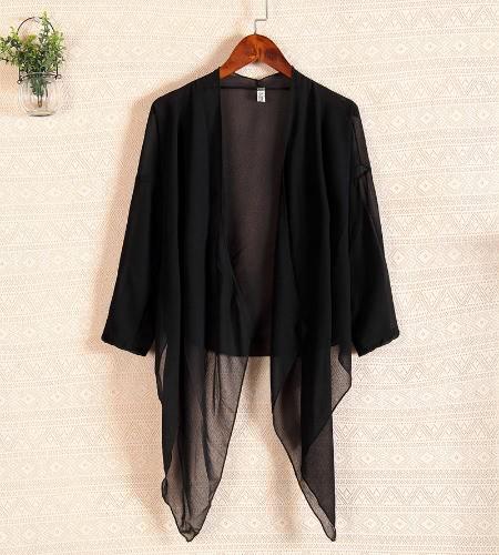 Mulheres sexy do Chiffon camisa sol frontal aberta proteção solta biquíni Beachwear encobrimento blusa branco/preto