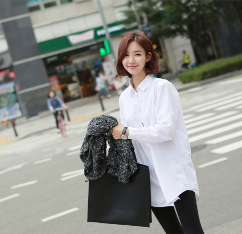 Moda mujer camisa descubierta cuello manga larga dobladillo asimétrico blusa larga suelta superior blanco