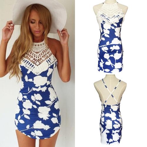 TOMTOP / Verão sexy mulheres Mini vestido Floral impressão Crochet Lace Backless Cruz correias praia Bodycon vestido azul