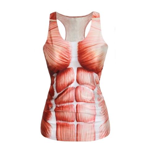 TOMTOP / Europa moda mulheres Tank Top galáxia impressão Digital colorida colete sem mangas Camisole Casual de gola redonda