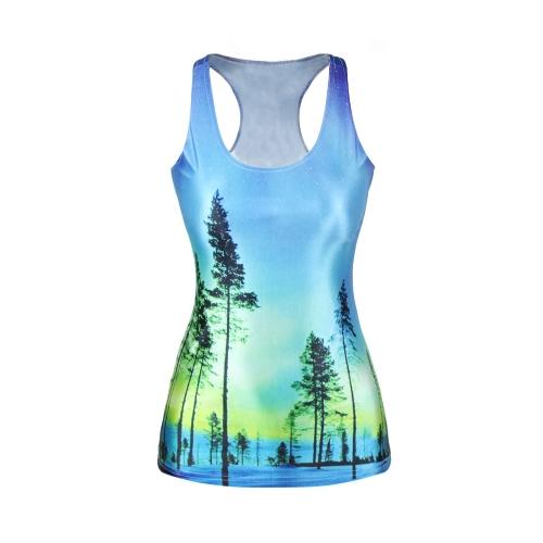 Europa moda camiseta las mujeres Tank Top Galaxy chaleco colorido impresión Digital cuello redondo sin mangas Casual