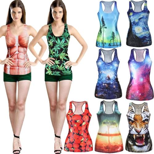 Европе мода женщин безрукавка Галактика цифровой печати красочных Жилет рукавов случайные камзол шею фото