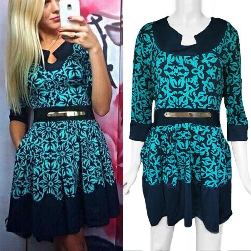 New Fashion Women Dress Geometric Print Crew Neck Half Sleeve Elegant Lady Dress Blue