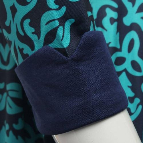 Tomtop coupon: New Fashion Women Dress Geometric Print Crew Neck Half Sleeve Elegant Lady Dress Blue