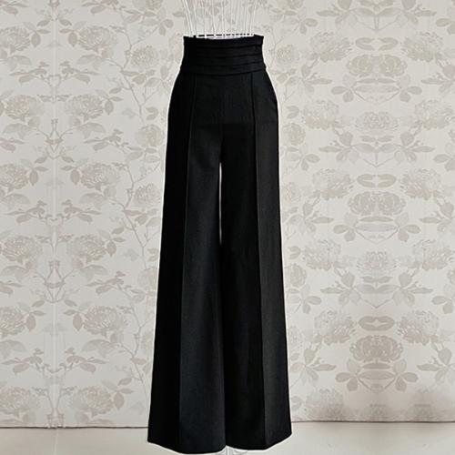 Tomtop coupon: Vintage Women Loose Trousers Zipper High Waist Pocket Front Flare Wide Leg OL Career Pants Black
