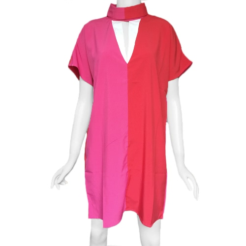 Tomtop coupon: New Fashion Women Dress Contrast Color Turtle Neck Short Sleeve Loose Elegant Mini Dress Red