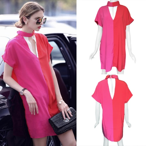 New Fashion Women Dress Contrast Color Turtle Neck Short Sleeve Loose Elegant Mini Dress Red
