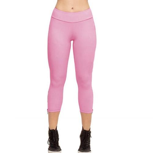 Nowi Moda Kobiety Capri Legginsy Slim Talia Candy Kolor Zipper Cuff Przycięte spodnie Yoga Running Rajstopy