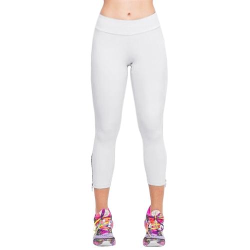 Nueva moda mujer Capri leggins Slim cintura Color caramelo brazalete de cremallera recortada pantalones Yoga mallas para correr