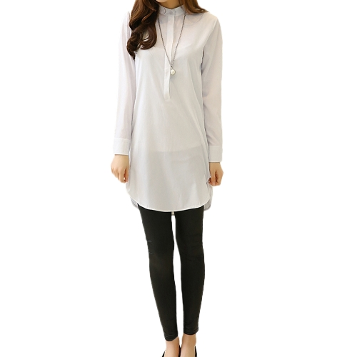 Tomtop coupon: New Fashion Women Shirt Stand Collar Button Down Long Sleeve Casual Loose Blouse Top White