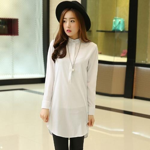 Nowa koszula damska mody Stand Collar Button Down Long Sleeve Casual Luźna bluzka Top White