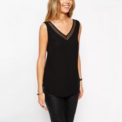 Nueva moda mujer chaleco cuello gasa V con malla blusa Sexy maciza sin mangas ajuste tapas negro