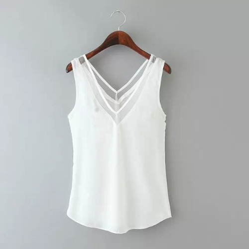 Nuova moda donna gilet collo Chiffon V con maglia Trim senza maniche tinta Sexy camicia Top Black/White
