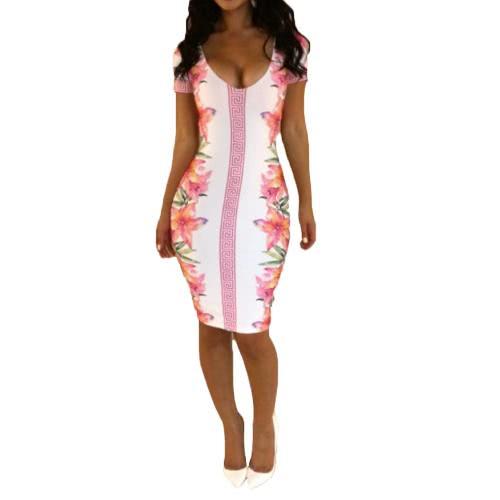 Neue Sexy Frauen Kleid Floral Print Tiefe V Hals Ausschnitt zurück Bodycon Party Clubwear Bandage Kleid rot