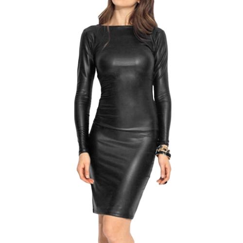 Mode Frauen Mini Kleid Kreuz Verband Slash Neck Langarm Bleistift Kleid Schwarz