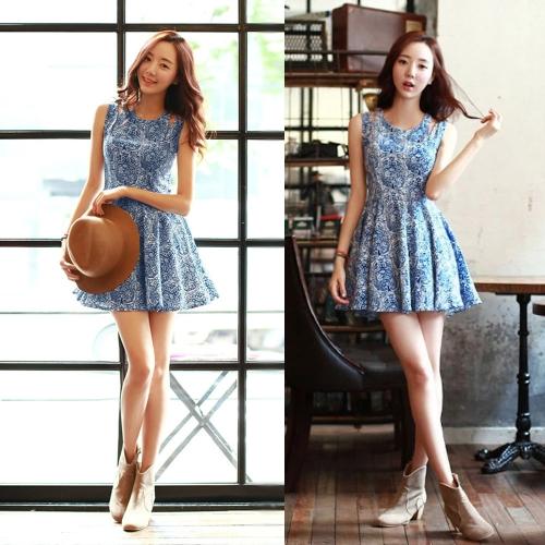 Vêtements femme mignonne robe florale impression découpe épaule fermeture éclair dos cou robe Mini plissée sans manches bleu