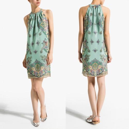 Nova moda mulheres vestem decote Halter do Chiffon de impressão fora ombro sem mangas verde de uma peça Vintage