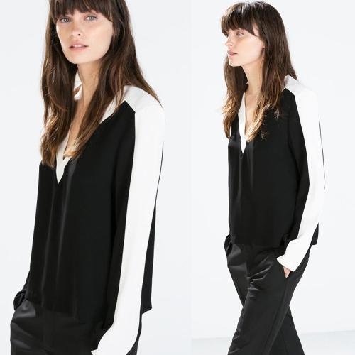 Nueva moda mujer contraste blusa V cuello Patchwork Split dobladillo manga larga camiseta Top negro