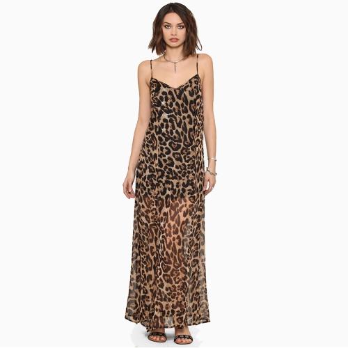 0999e6f61e20 Europe Sexy Women Chiffon Dress Leopard Print V Neck Spaghetti Strap Slits  Maxi Dress Brown
