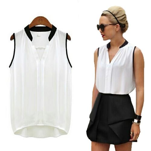 Nueva manera de las mujeres de la gasa de la camisa con cuello en V Empalme irregular Hem sin mangas de la blusa Tops rosa / blanco