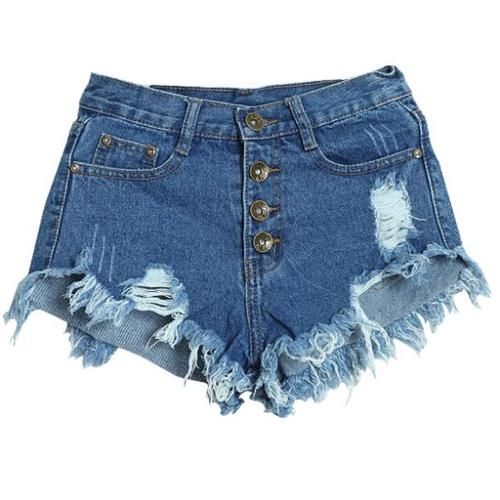 Europa mujeres Denim corte Vintage Shorts botón cintura alta agujero pantalones vaqueros pantalones cortos azul/azul oscuro