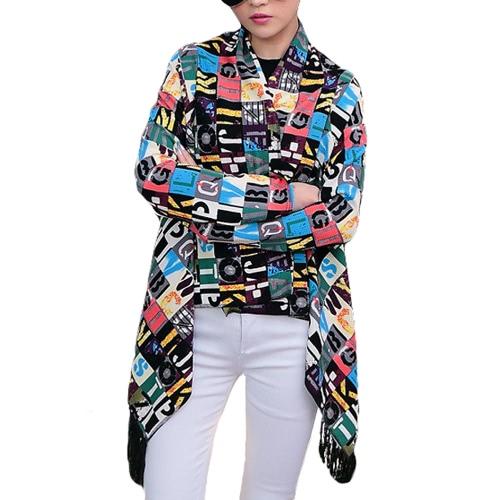 Nueva moda mujeres delgadas Rebeca impresión abierta frente borla con flecos manga larga fino cabo Abrigos Coat