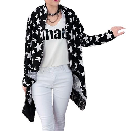 Nueva moda mujeres delgado cárdigan impresión abierta frente borla flecos manga larga fino cabo Abrigos Coat