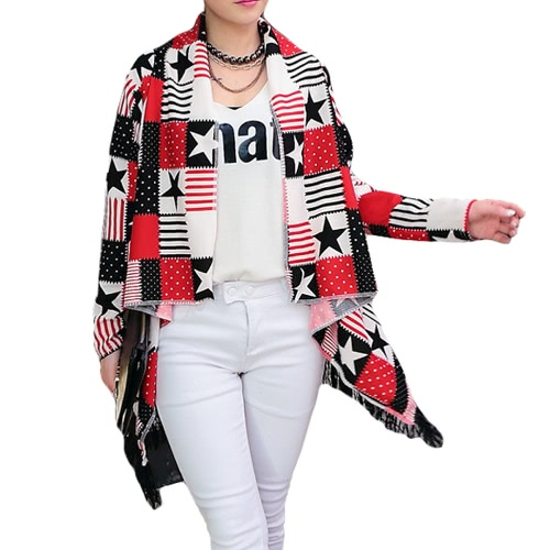 Tomtop coupon: New Fashion Women Thin Cardigan Print Open Front Tassel Fringed Long Sleeve Thin Cape Coat Outerwear