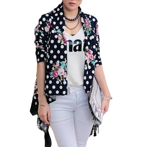 Новые моды женщин тонкий джемпер печати открытой передней кисточкой бахромой длинный рукав тонкий мыс Пальто Верхняя одежда