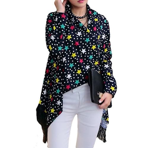 New Fashion Women Thin Cardigan Print Open Front Tassel Fringed Long Sleeve Thin Cape Coat Outerwear