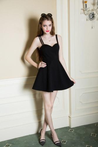 Nueva moda mujer vestido de novia escote tirantes suavemente acolchado Slim Fit Sexy una pieza negro/rojo