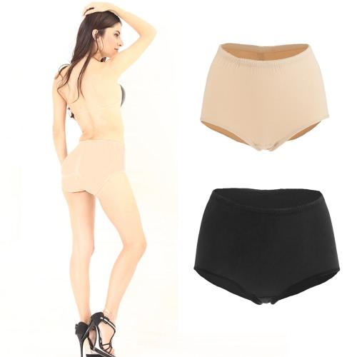 Fashion Women Seamless Butt Lifter Panties Elastic Mid-rise Waist Abundant Buttock Bottoms Pants Underwear Black/Beige
