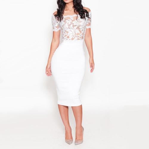 Moda mujer vestido de malla hombro cordón bordado recorte noche cóctel vestido de fiesta blanco