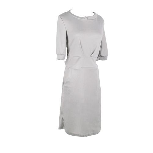 Nueva moda mujeres vestido Pocket correa mangas medio sólido Casual una pieza gris/azul