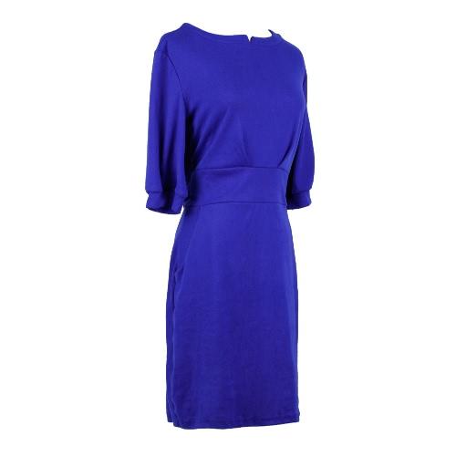 Nueva moda mujeres vestido bolsillos correa mangas medio sólido Casual Mini una pieza gris/RoyalBlue