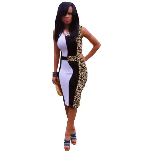 Sexy Women Dress Leopard Print Patchwork Dress Sleeveless Bodycon Party Dress Brown