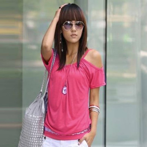 Korea Sexy Women T-shirt Strap Off Shoulder Scoop Neck Short Sleeve Casual Loose Tee Top