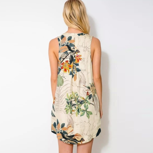 Fashion Women Mini Dress Floral Print Deep V Neck Button Closure Front Asymmetric Hem Sleeveless Dress Green